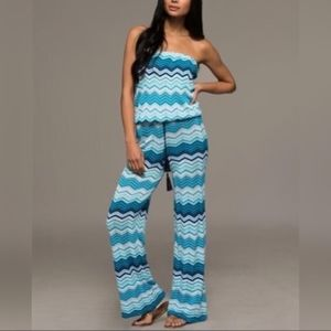 NWT Coastal Blues Capri Knit Jumpsuit